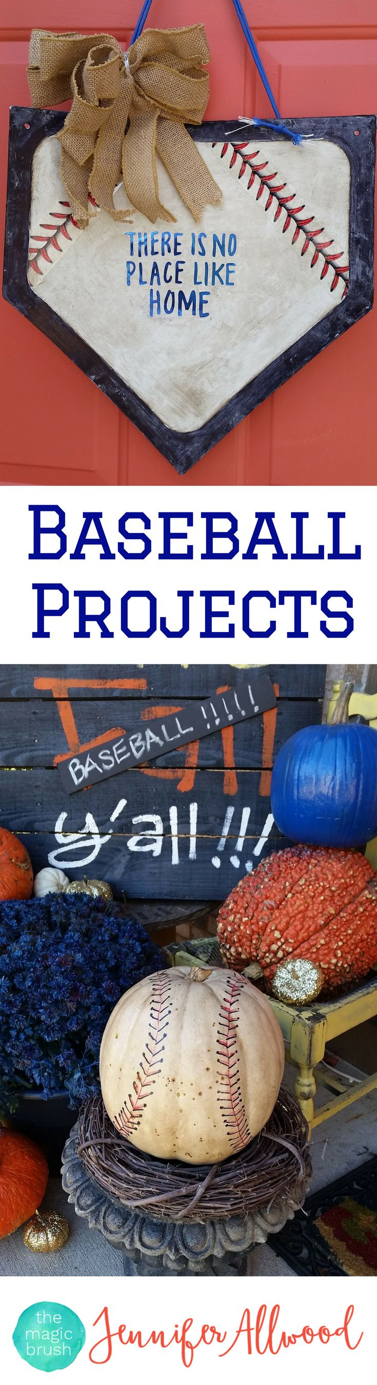 DIY Baseball Projects and Baseball Decor by theMagicBrushinc.com Fun ideas for door and porch decorations, baseball pumpkins, baseball-themed bedrooms and more!