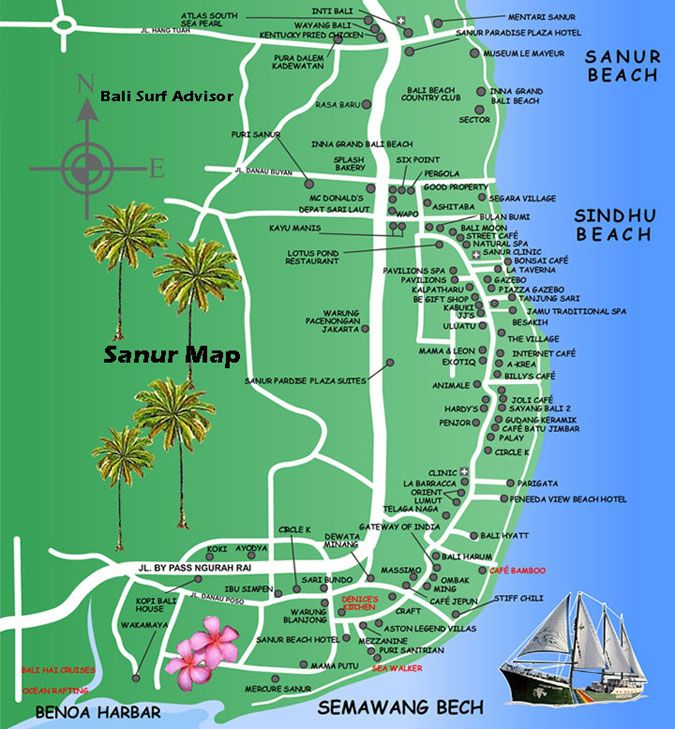 Sanur Map - Detail Maps Bali Indonesia