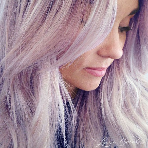 Beauty Note: Pretty in Purple. Lauren Conrad. Lilac pastel hair. Love it! I really want to do this to my hair!