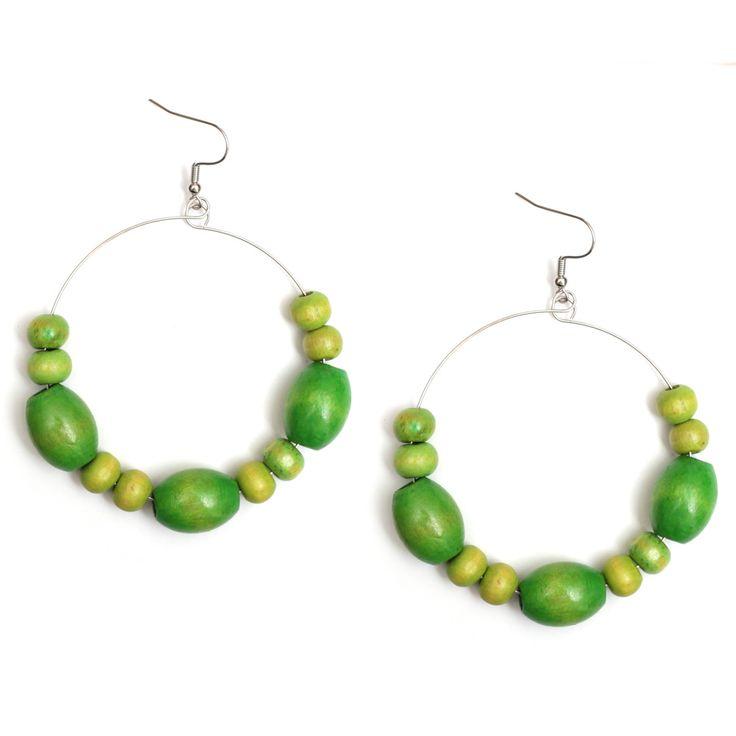 Green Abacus wood bead hoop drop earrings