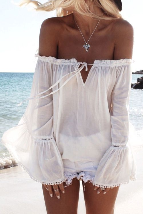 Off The Shoulder White Long Sleeve Blouse
