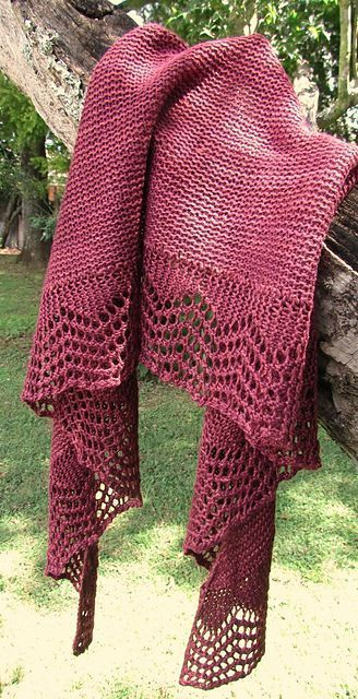 Free Pattern: Norwood Shawl. A quick and easy crescent shawl with a simple lace edging.