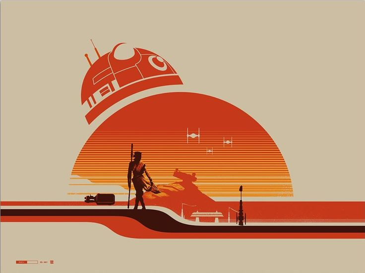 Star Wars: The Force Awakens.  Very 'Retrowave' Poster.