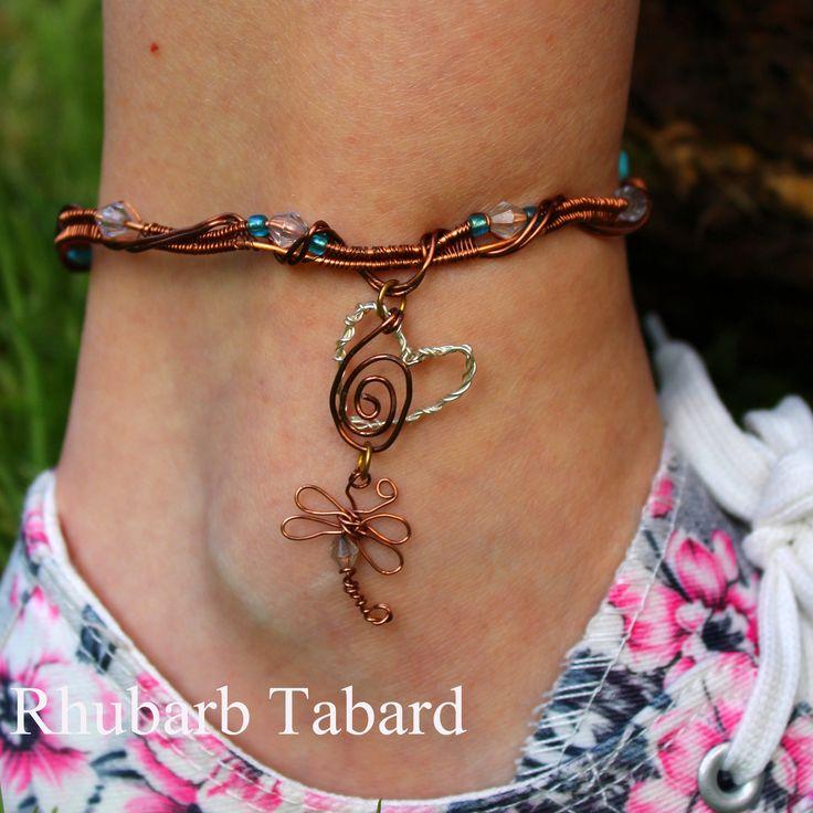 Dragonfly anklet, ankle braclet, bangle, filigree anklet, handmade ankle bracelet, special gift, summer gift by RhubarbTabard on Etsy