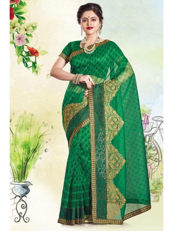 Deep Dark Green Printed Super Net Saree