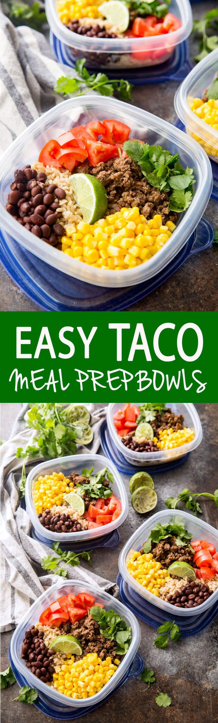 Easy Taco Meal Prep Bowls with Salsa Verde Beef and extras like corn, tomatoes, cilantro, and black beans. I swear these are better on the second day!