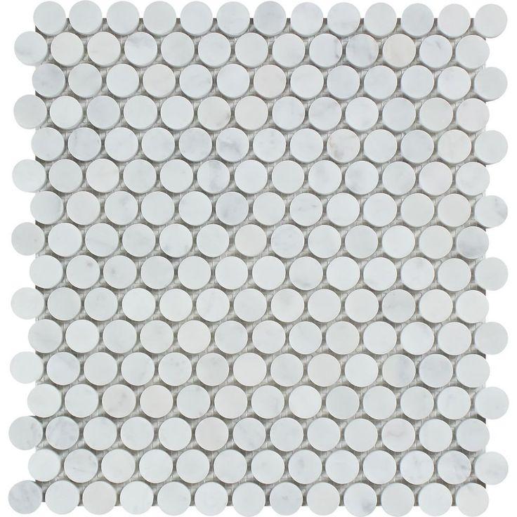 Bianco Carrara Honed Marble Penny Round Mosaic Tile