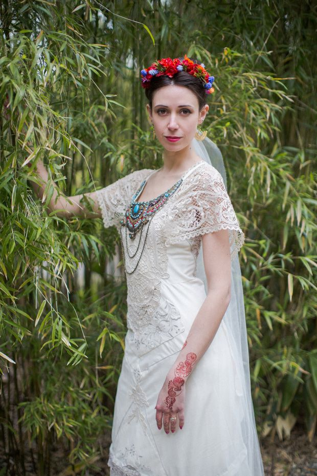 Alice Halliday bespoke lace bridal dress with Bonzie beaded collar, Ruby Harte Floral Design floral crown http://onefabday.com/liss-ard-estate-wedding-by-magda-lukas/