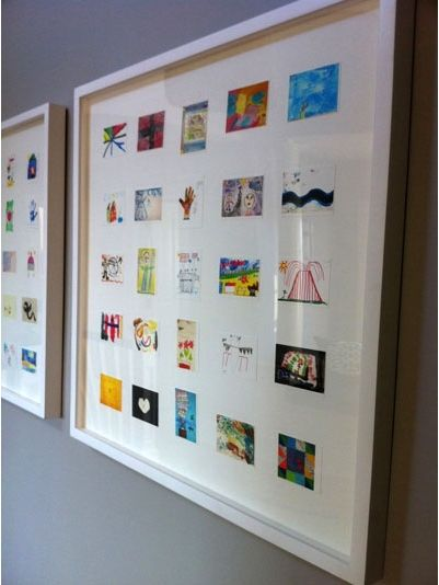 Scan childrens art work and then print out in smaller size. Frame. Now make art gallery in hallways of your childrens art