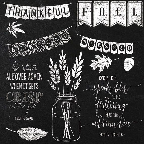 Fall Autumn Chalkboard Elements and by JubileeDigitalDesign, $5.00