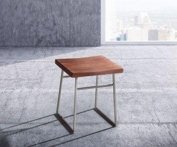 Esszimmerstuhl Blokk Akazie Braun Metallgestell Massivholz Bild 1