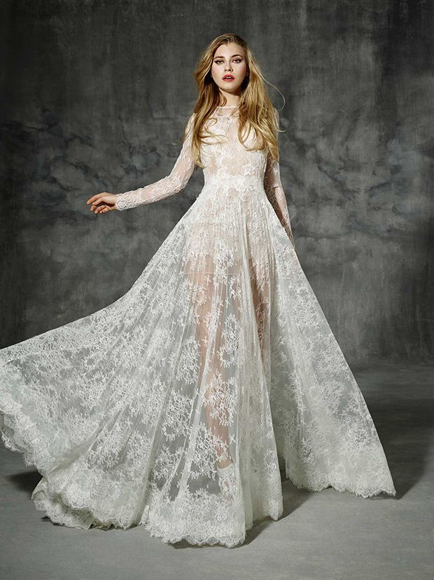 Villaroel from Yolan Cris wedding dresses 2016 -Boho lace sleeve wedding dress made of high quality French Chantilly lace. It has a tight waist silhouette that reveals a long full skirt with a lovely chapel train -  see the rest of the collection on www.onefabday.com
