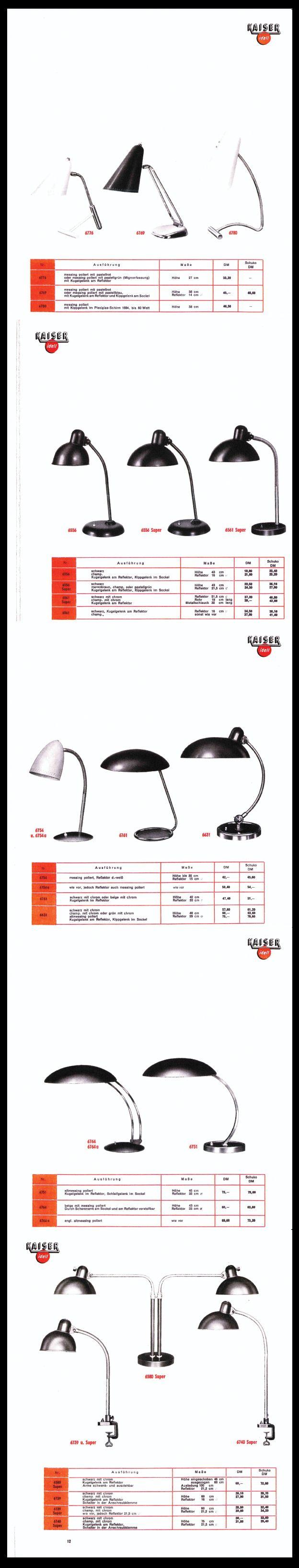Rare Kaiser & Co. Work Lamp Catalogue 1955 - #KaiserIdell #Kaiser_Idell #ChristianDell #Bauhaus #Modernism #Modernist #Molecula #arbeitslampen #werkstatte
