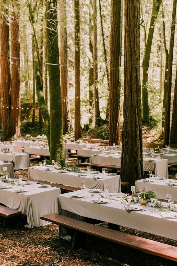 Outdoor Forest Reception Tables In The Trees Wedding Inspiration Ideas Theme Styling