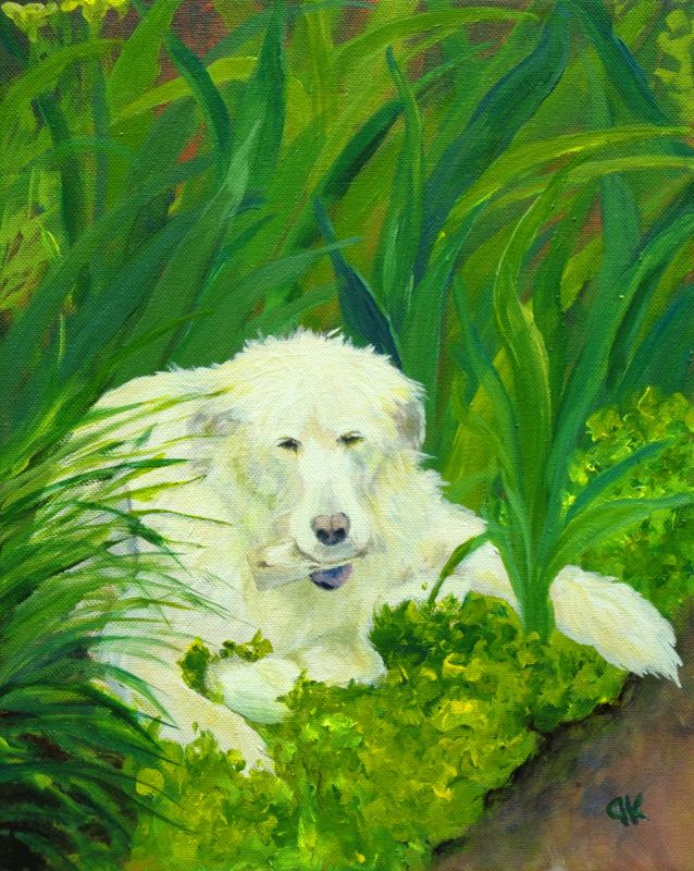 Toby's Garden: This giant Wolfhound/Golden Retriever mix enjoys some relaxing time among the flowers.
