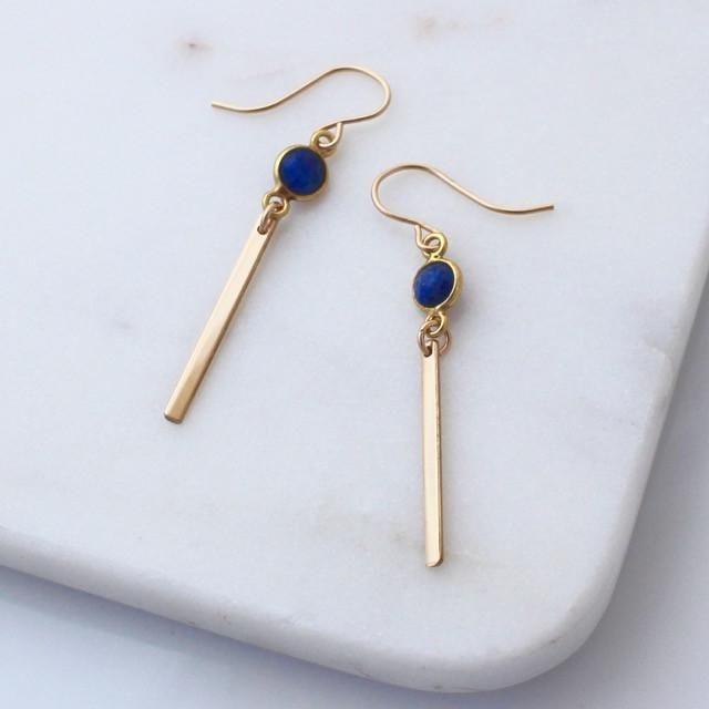 blue lapis lazuli gold bar earrings