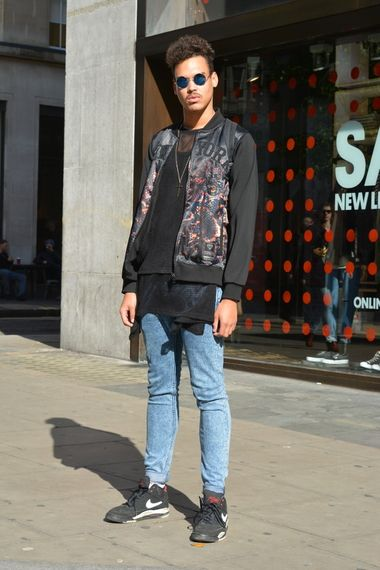 Wearing a black print New York hoodie with a black mesh top and layered t-shirt with acid wash skinny jeans #aw14 #fashion #style #inspiration #mens