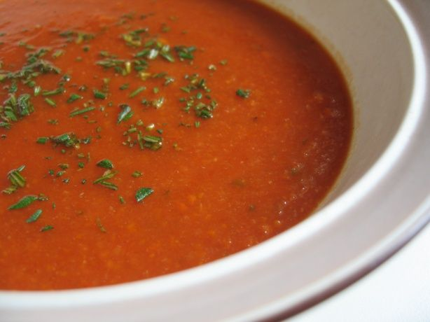 """Hearty and """"Creamy"""" Slow Carb Tomato Soup"""