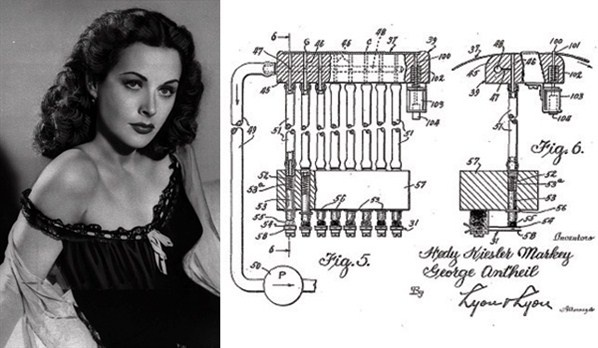 Hedy Lamarr actress and inventor.  In the 40s Lamarr co-created a device that would make America's radio-guided torpedoes harder to detect. The patent was submitted in 1942 but the idea was not implemented until 1962 when it was used by US ships during the blockade of Cuba. Lamarr's invention later formed the basis for modern Wi-Fi networks.