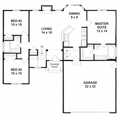 Plan 1108 Ranch With 3 Split Bedrooms And 2 Baths