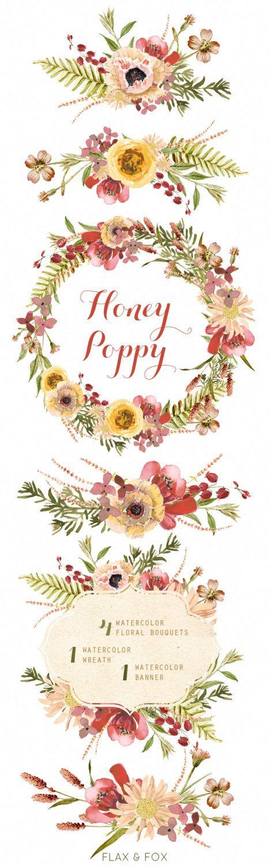 Bouquet di miele papavero acquerello corona mano verniciato
