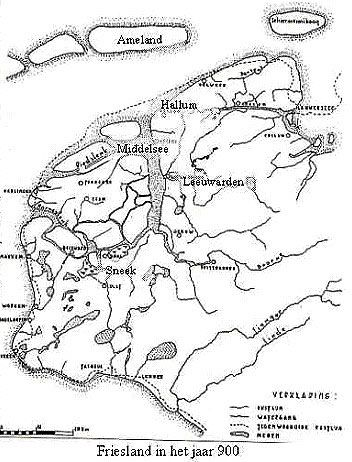 Oude kaart van Friesland waarop de Middelzee te zien is.