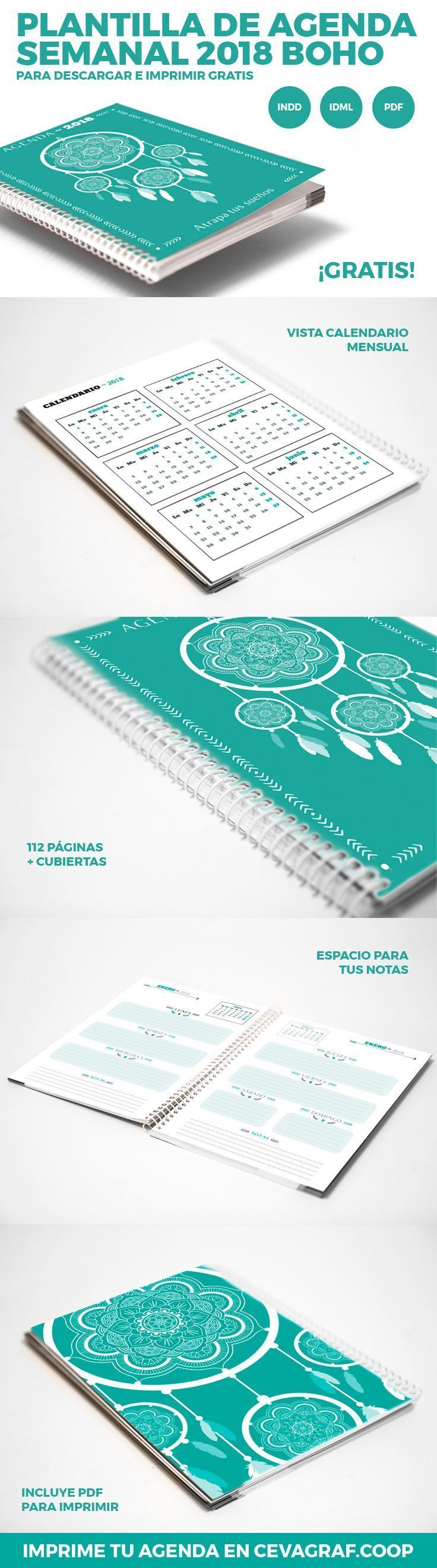 Plantilla de agenda semanal 2018 boho para InDesign (.idml y .indd) de 116 páginas en formato DIN A5 (14,8 x 21) y en español listo para imprimir...