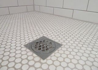Penny Tiles for Shower Floor - White penny mosiac and subway tiles, grout in Dunlop Misty Grey