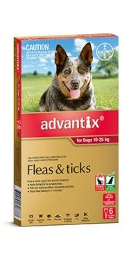 Advantix Dog 10-25kgs Large 4's & 6's - Advantix kills and repels deadly paralysis ticks. It also kills fleas fast, and kills and repels brown dog ticks and bush ticks. Advantix also repels mosquitoes, sandflies and stable flies that can make your dog's life a misery.