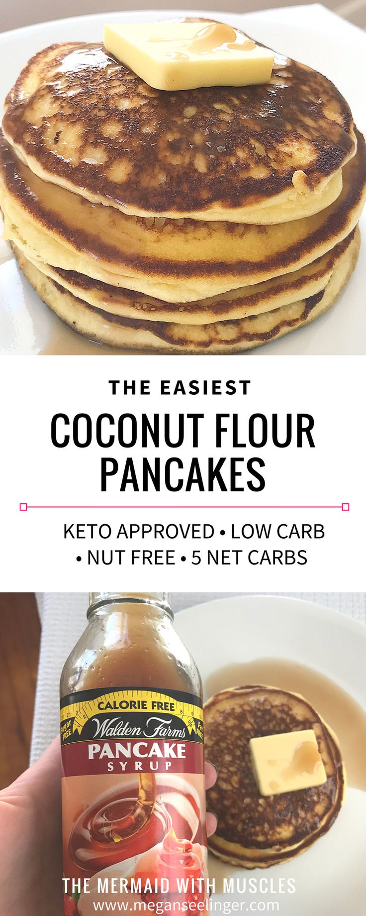 A big stack of warm keto pancakes with extra butter and maple syrup on top! This easy recipe makes fluffy coconut flour pancakes that are low carb, few ingredients and can fit into any keto meal plan! These are made with coconut flour, instead of almond flour, so they are nut free! The perfect keto breakfast recipe.