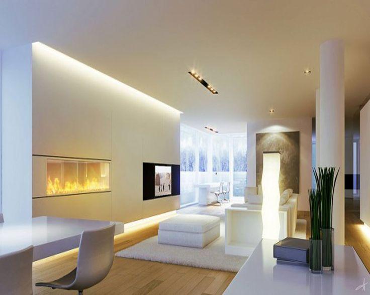 Salotto moderno total white pulito, minimal e hi-tech. Eccellente illuminazione