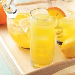 Orange Lemonade Recipe. Makes 12 cups. 134 calories, 0g fat per cup.