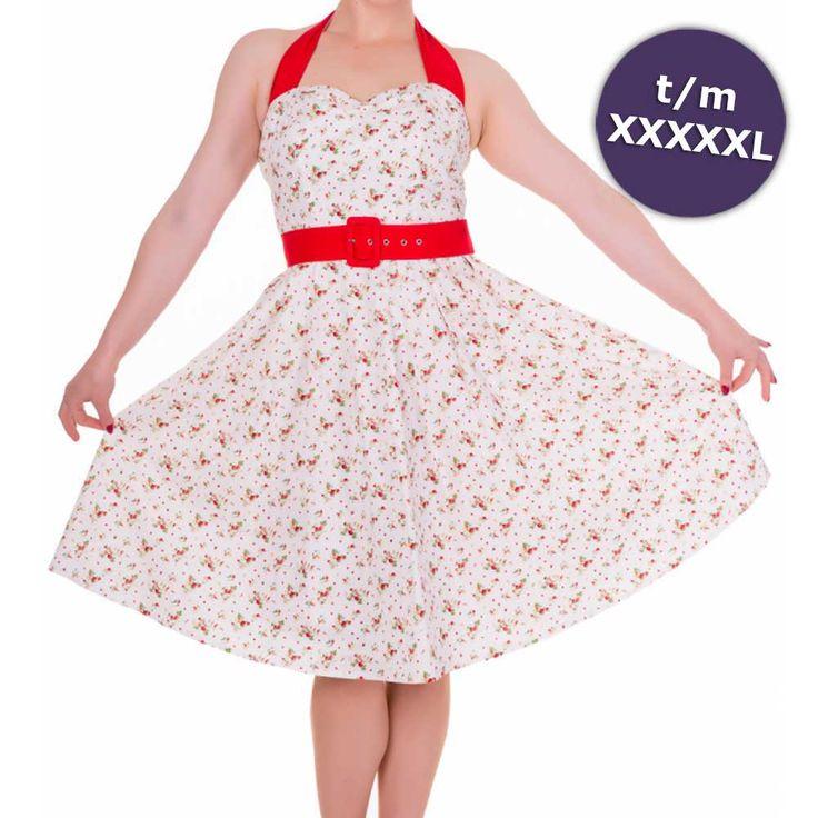Sophie swing jurk met aardbeien print en halternek wit/rood - Vintage 50's Rockabilly retro