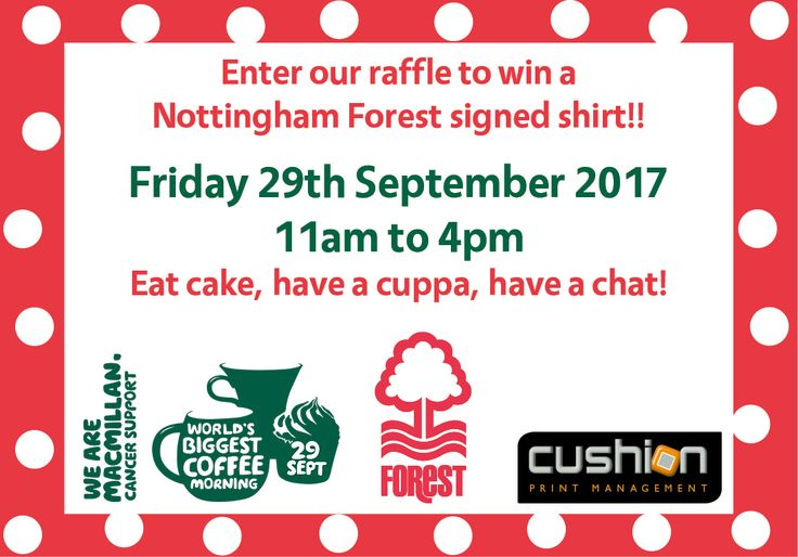 Win a Nottingham Forest Signed Football Shirt - Macmillan's World's Biggest Coffee Morning – 29th September...