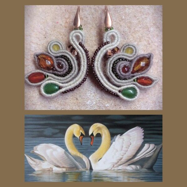"Soutache earrings ""swans in love"""