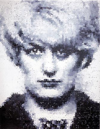 """Marcus Harvey — Myra  (""""Myra"""" is a painting by British artist Marcus Harvey of Myra Hindley, which is rendered completely out of the handprints of small children. What's controversial about that? How about the fact that Myra Hindley, along with Ian Brady, was responsible for the vicious murder of five children aged between 10 and 17 in the years 1963 to 1965?)"""