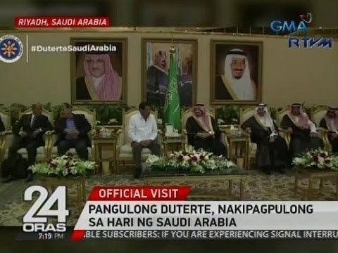 24 Oras: Pangulong Duterte, nakipagpulong sa hari ng Saudi Arabia - WATCH VIDEO HERE -> http://dutertenewstoday.com/24-oras-pangulong-duterte-nakipagpulong-sa-hari-ng-saudi-arabia/   24 Oras is GMA Network's flagship newscast, anchored by Mike Enriquez, Mel Tiangco and Vicky Morales. It airs on GMA-7 Mondays to Fridays at 6:30 PM (PHL Time) and on weekends at 5:30 PM. For more videos from 24 Oras, visit  Subscribe to the GMA News and Public Affairs channel:  Visit the GMA