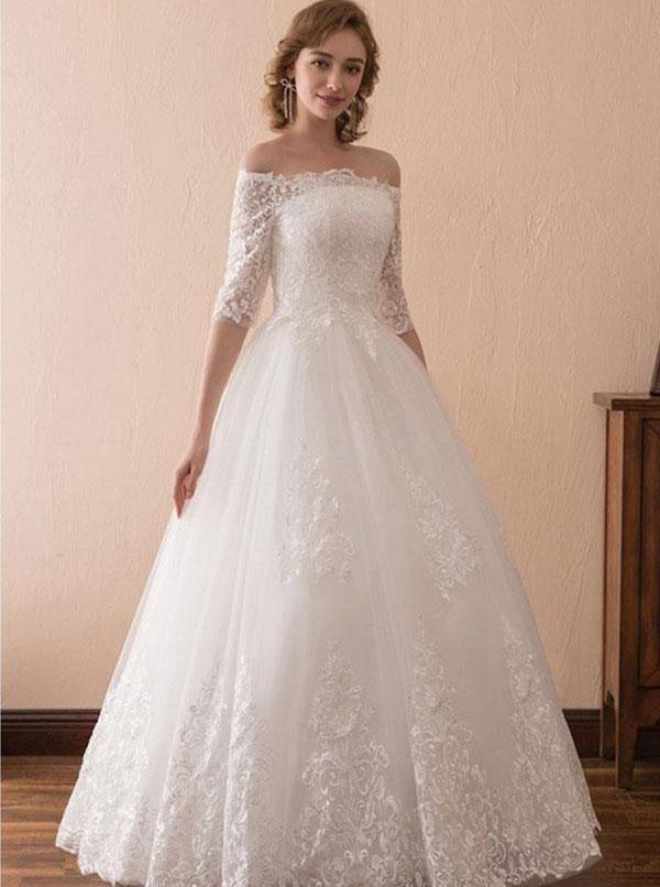 Floor Length Bridal Gown,Off the Shoulder Wedding Dress,Ball Gown Wedding Dress,WD00232