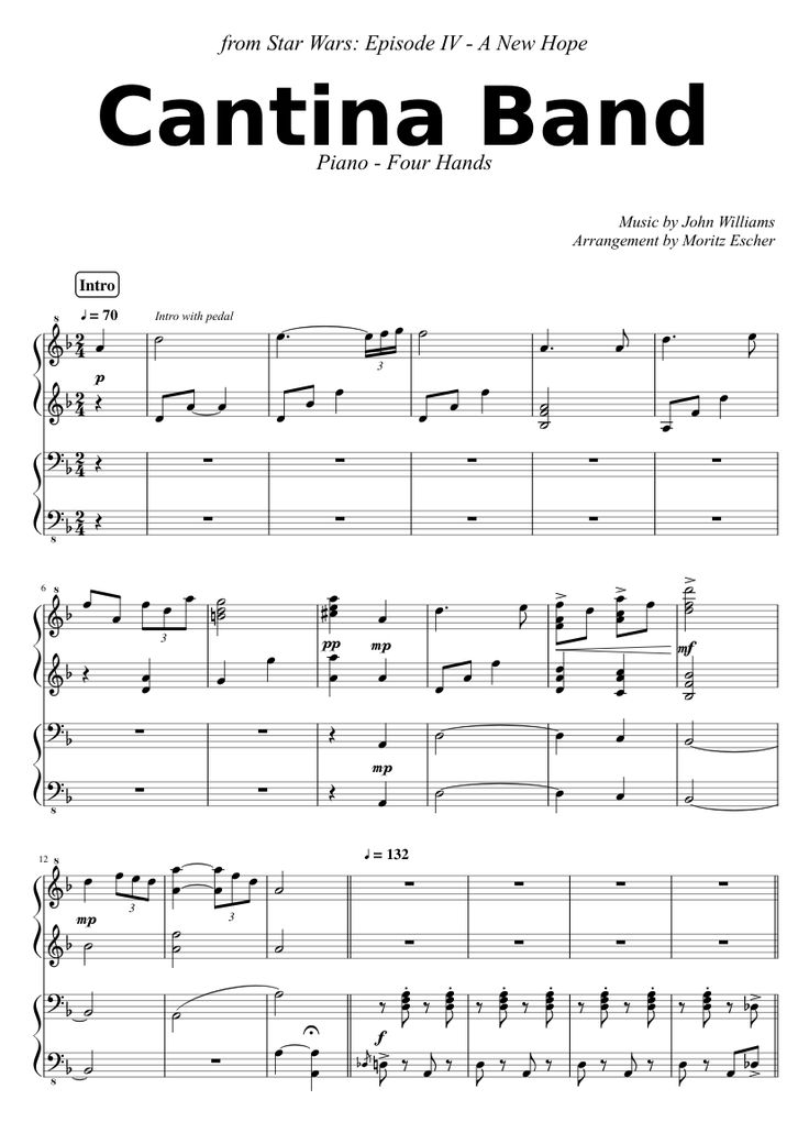 Cantina Band For Piano Four Hands Sheet Music For Piano
