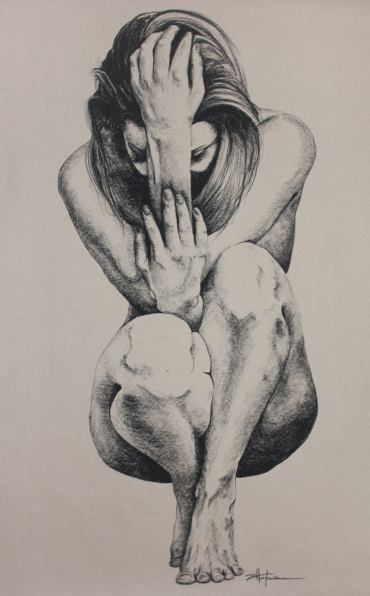 "Charcoal Drawing of Female Body | Original Art, Nude Art Female - Charcoal - Graphite drawing ""CROUCHING ..."