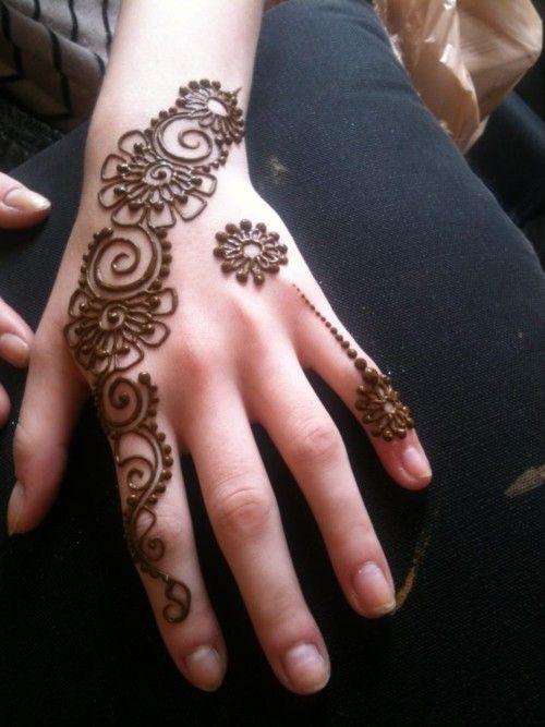 Flower swirls circles pattern mehndi designs for fingers                                                                                                                                                     More