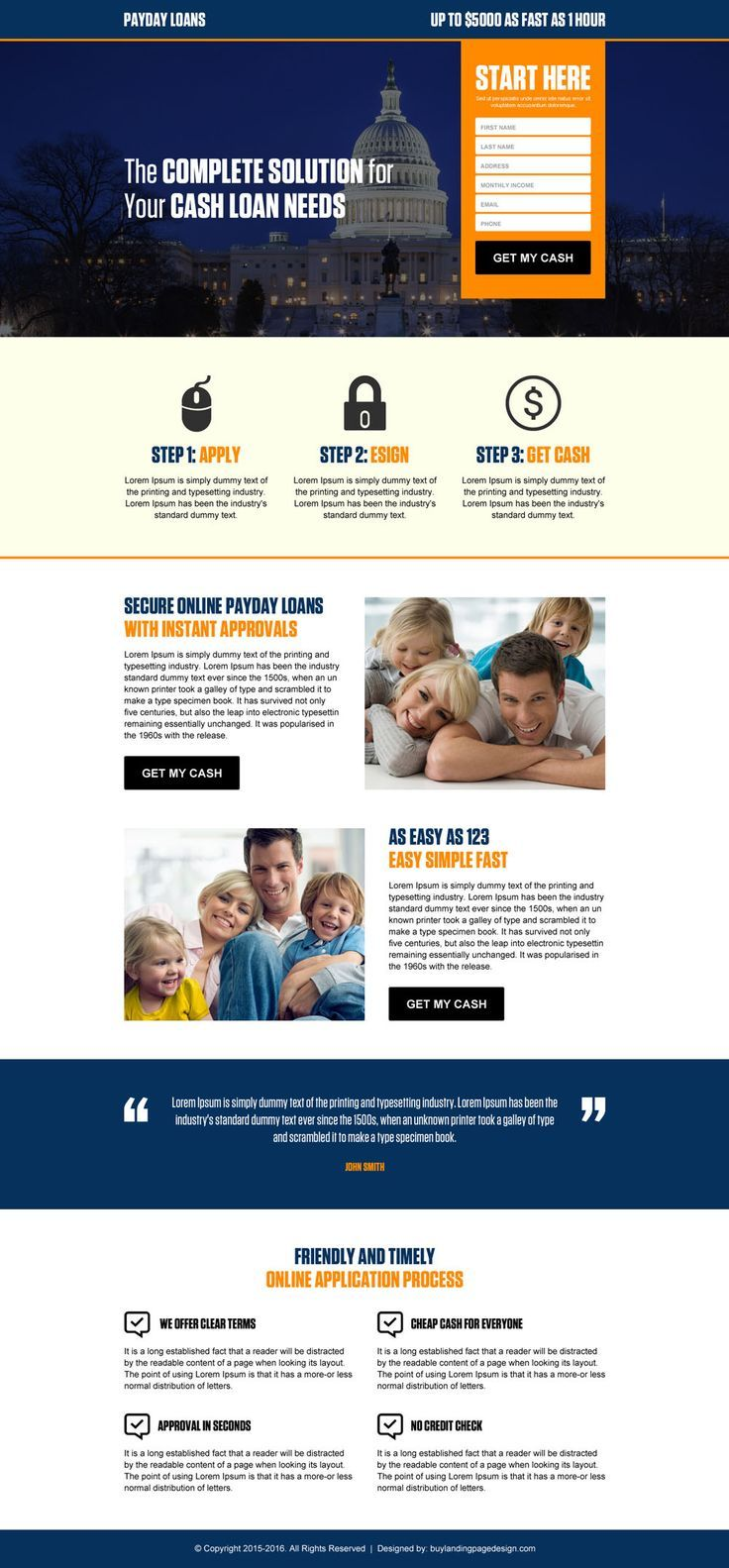Usa Government Payday Loan Responsive Landing Page Design Template
