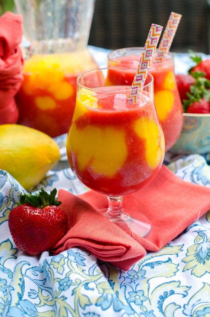 Mango Strawberry Daiquiris | Go Go Go Gourmet @gogogogourmet