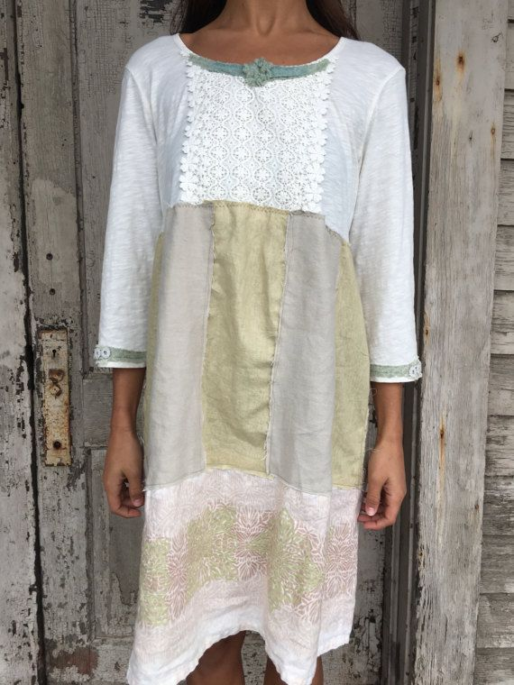 RESERVE Romantic/Tattered/Rustic/Boho/Gypsy Dress upper part of dress is made with cotton and added trim along neckline and sleeve cuffs lower part is made with linen panels and has tie along back Size-medium large chest-44 has stretch hips-52 length-37