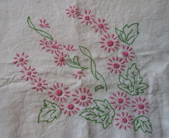 Vintage Linen Tablecloth Pink Wild Flowers Square by Tasteliberty, $24.00