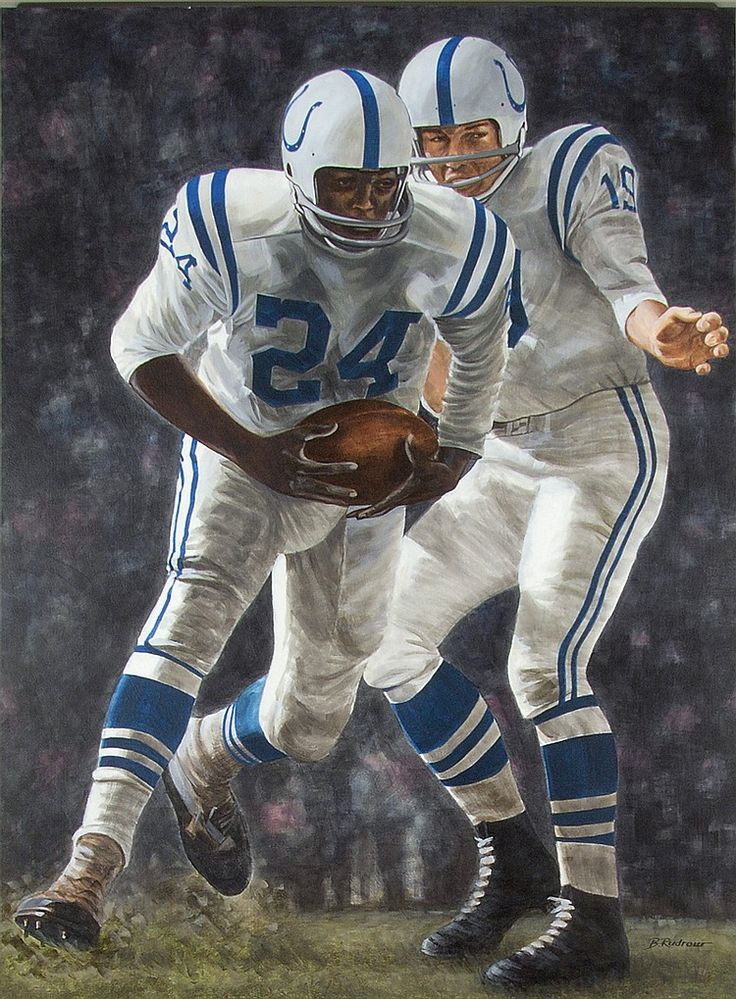 Johnny Unitas and Lenny Moore large format original painting