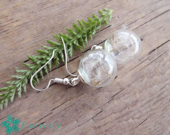 Dandelion earrings Real flower earrings by FancyHandmadeArmenia