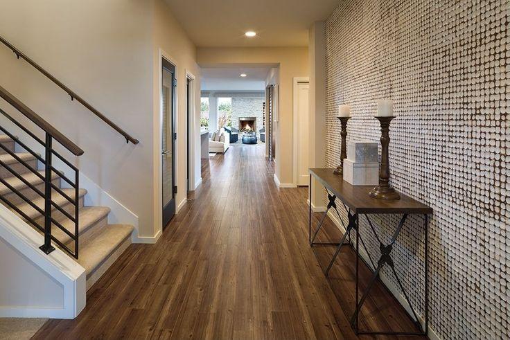 Contemporary Hallway with French doors, interior wallpaper, Hardwood floors