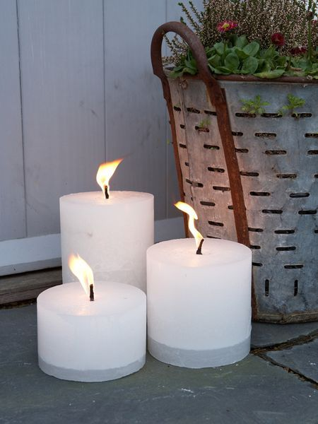 outdoor candles with 6mm thick wick that allows them to burn superbly outdoors - even in windy conditions!