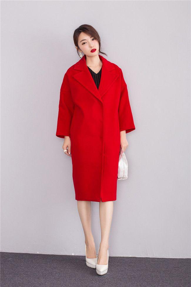 2016 весна осень зима женщины твердые кокон форма пальто подражали кашемир шерстяные верхняя одежда сгущает широкий длинное пальто XS XL красный купить на AliExpress